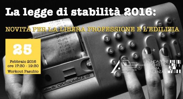 Formazione: La legge di stabilità 2016: novità per la libera professione e l'edilizia